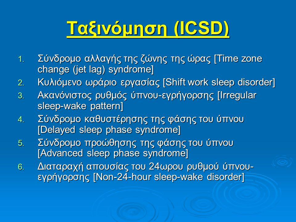 Ταξινόμηση (ICSD) Σύνδρομο αλλαγής της ζώνης της ώρας [Time zone change (jet lag) syndrome] Κυλιόμενο ωράριο εργασίας [Shift work sleep disorder]